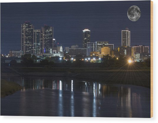 Fort Worth Skyline Super Moon Wood Print