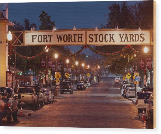 Fort Worth Stock Yards Night Wood Print