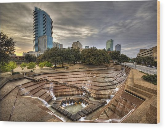 Fort Worth Water Garden Wood Print