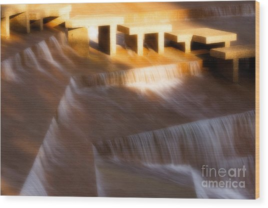 Fort Worth Water Gardens Steps Wood Print