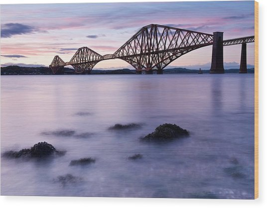 Forth Bridge At Sundown Wood Print