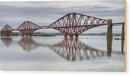 Forth Bridge Reflections Wood Print