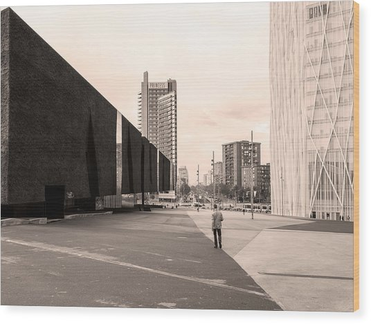 Wood Print featuring the photograph Forum, Barcelona by Stefano Buonamici