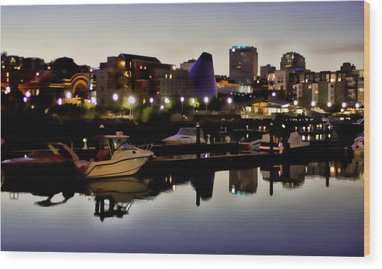 Foss Waterway At Night Wood Print