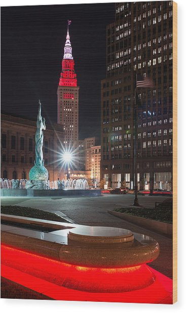 Fountain And Terminal Tower In Red Wood Print