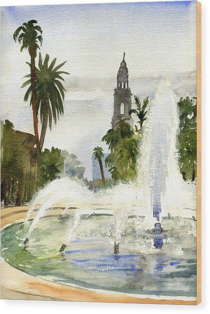 Fountain At Balboa Park Wood Print