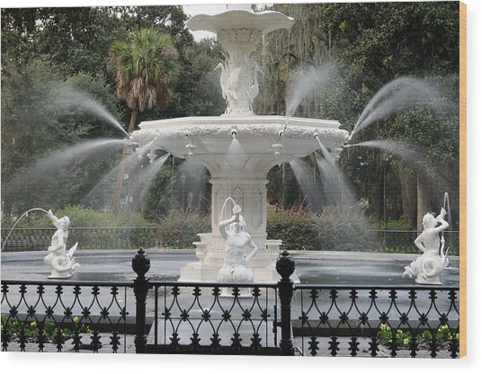 Fountain At Forsyth Park Savannah Wood Print