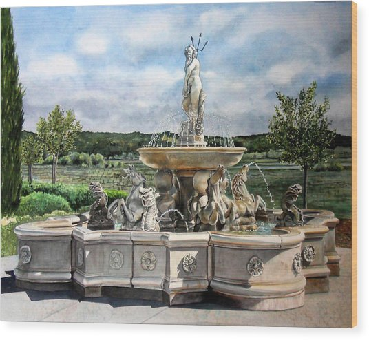 Fountain At The Vineyards Edge Wood Print