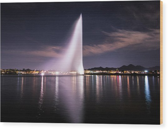 Fountain Hills At Night Wood Print