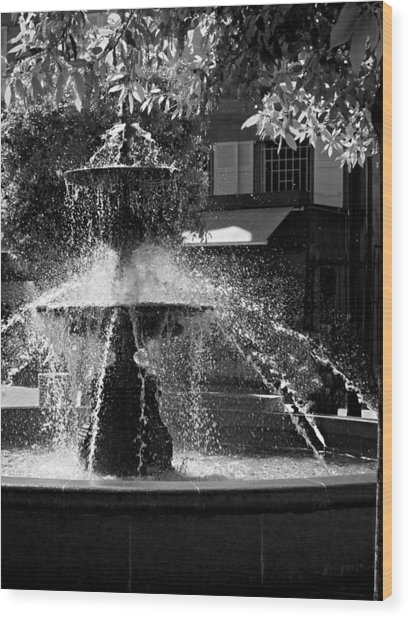 Wood Print featuring the photograph Fountain On Place Toulzac / Brive La Gaillarde by Barry O Carroll
