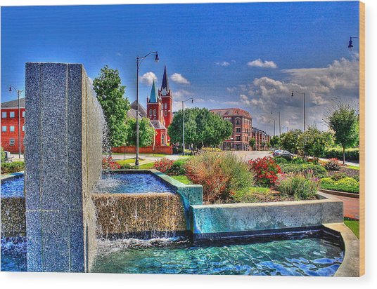 Fountain On Ray Wood Print