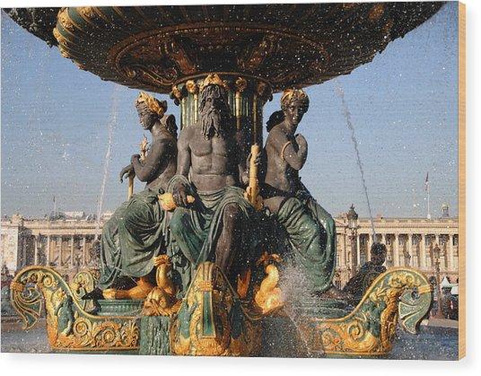 Fountain Place De La Concorde Wood Print by Jacqueline M Lewis