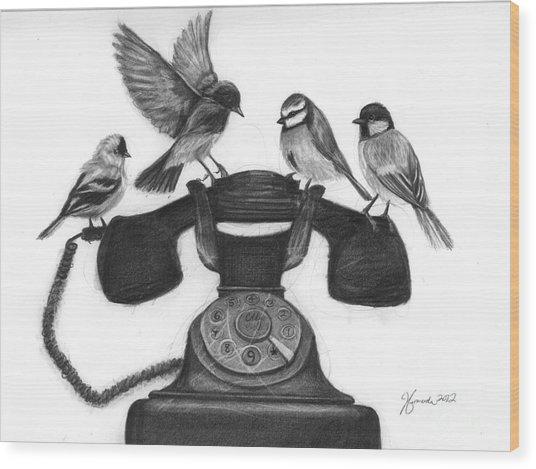 Four Calling Birds Wood Print