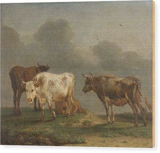 Four Cows In A Meadow Wood Print