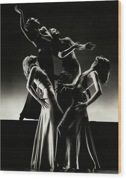 Four Dancers Of The Albertina Rasch Ballet Group Wood Print