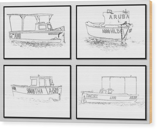 Four Fishing Boats Of Aruba Wood Print