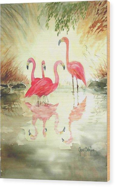 Four Flamingos Wood Print