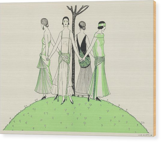 Four Ladies Holding Hands, Wearing Wood Print