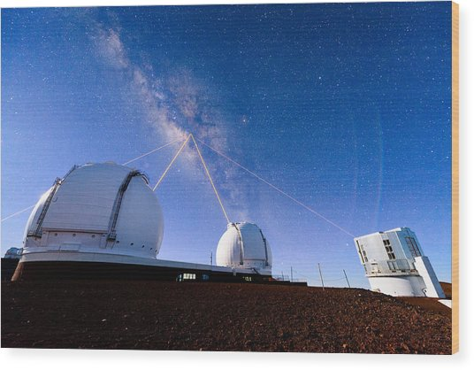 Four Lasers Attacking The Galactic Center Wood Print
