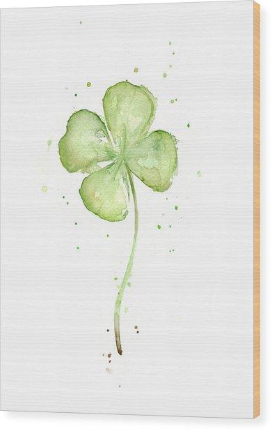 Four Leaf Clover Lucky Charm Wood Print