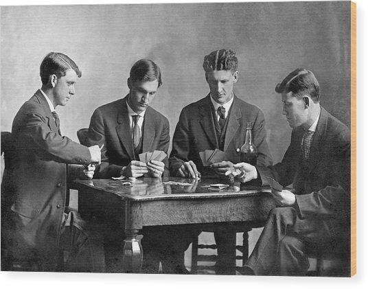 Four Men Playing Cards Wood Print
