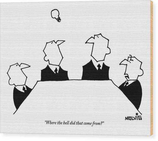 Four Men Sit Around A Table Wood Print by Ariel Molvig