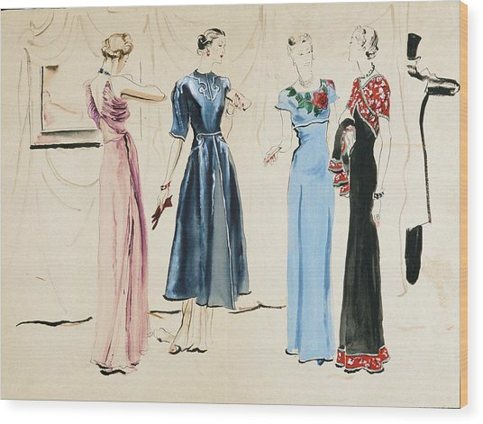 Four Models In Dresses By Alix Wood Print by Rene Bouet-Willaumez