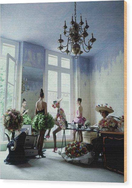Four Models Inside Christian Lacroix's Studio Wood Print