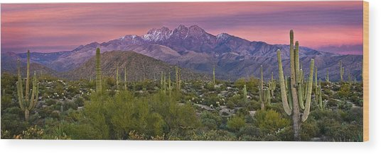 Four Peaks Sunset Panorama Wood Print