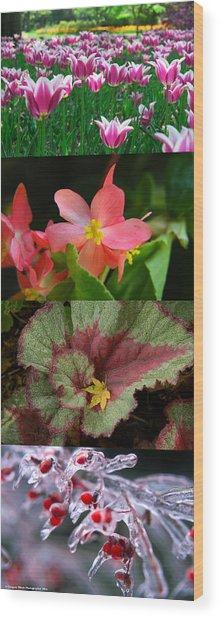 Four Seasons Of Flowers Vert Wood Print