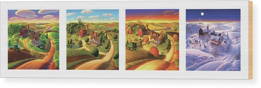 Four Seasons On The Farm Wood Print