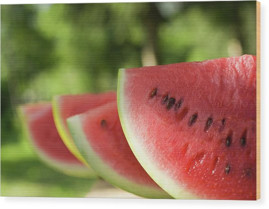 Four Slices Of Watermelon Wood Print