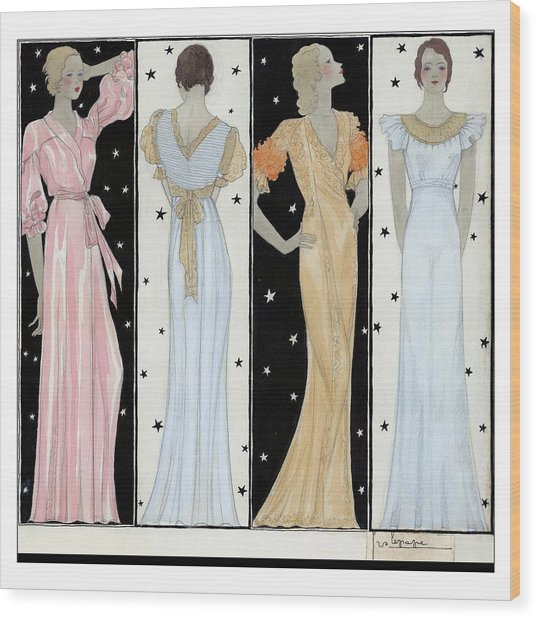 Four Women In Designer Evening Gowns Wood Print