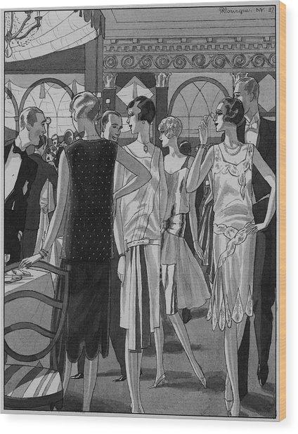 Four Women In Evening Wear Wood Print