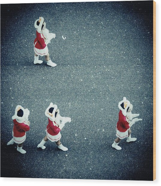 Four Women In Uniforms Marching Wood Print