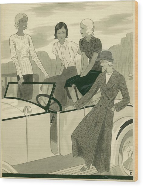 Four Women With A Car Wood Print by William Bolin