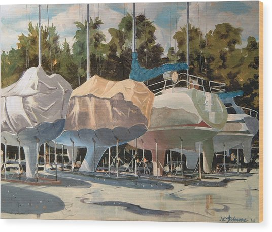 Four Yachts At Rest Wood Print