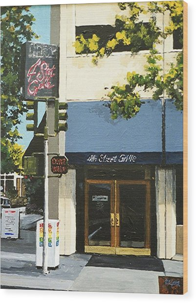 Fourth Street Grille Wood Print
