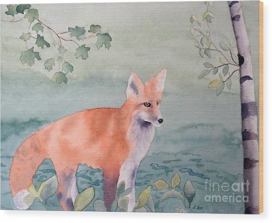 Fox And Birch Wood Print