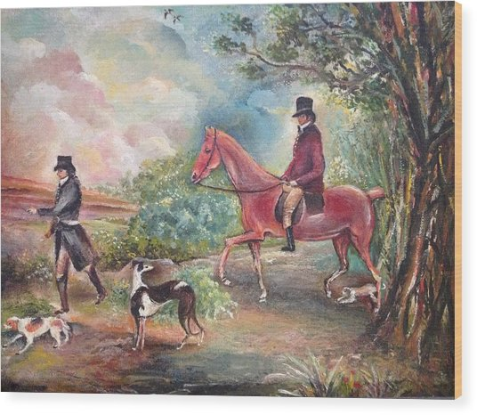 Fox Hunting Wood Print