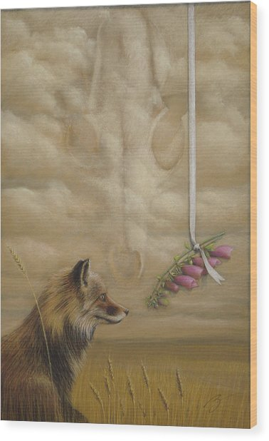 Foxes - Pastel Wood Print