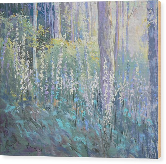 Foxgloves In The Woods Wood Print by Jackie Simmonds