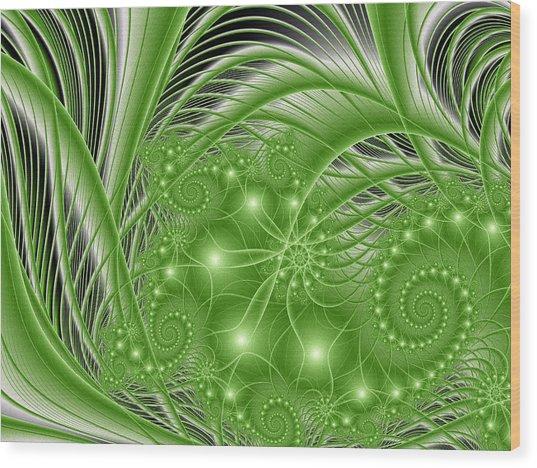 Fractal Abstract Green Nature Wood Print