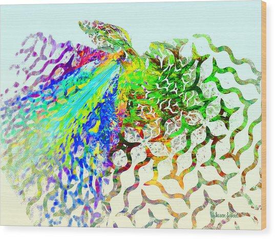 Fractal - Hummingbird Wood Print by Susan Savad