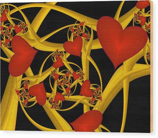Fractal Love Ist Gold Wood Print
