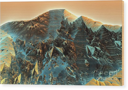 Fractal Moutain Wood Print by Bernard MICHEL