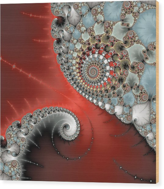 Fractal Spiral Art Red Grey And Light Blue Wood Print