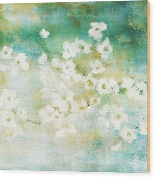 Wood Print featuring the mixed media Fragrant Waters - Abstract Art by Jaison Cianelli