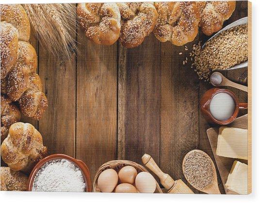 Frame Of Ingredients For Bread Wood Print by Fcafotodigital