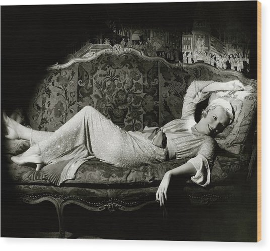 Frances Willams Lying On A Couch Wood Print by Cecil Beaton